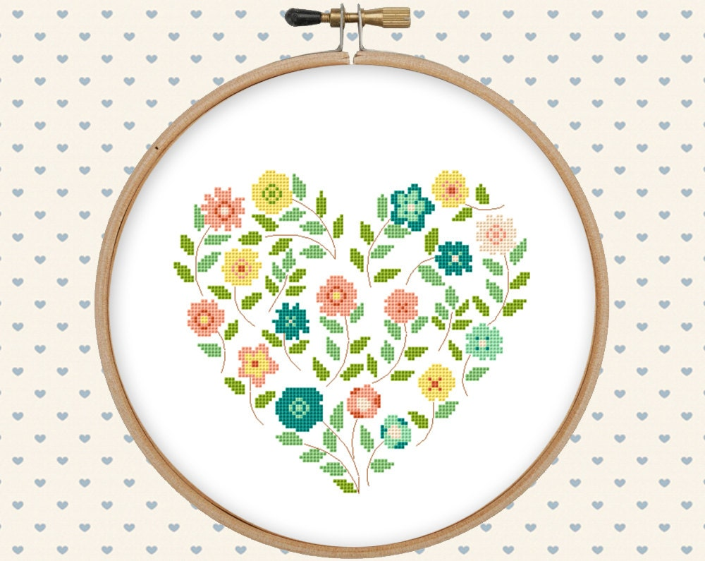 Flower heart cross stitch pattern pdf pillow embroidered zoom bankloansurffo Images