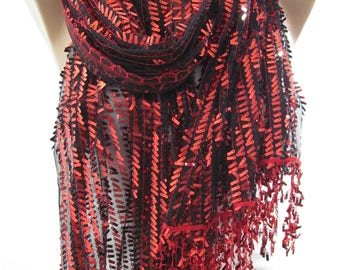 Wedding Gift  Metallic Red Scarf Shawl Sequin Scarf Sparkle Scarf Wedding Scarf Bridesmaids Gift Holiday Christmas Gift For Her For Mom