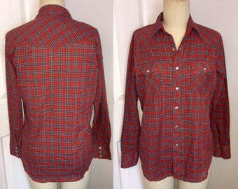 Western Shirt Christmas Plaid Snap Front Mens Medium M red blue green long sleeve 70s 1970s 80s 1980s