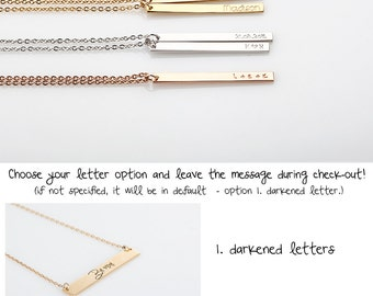 Skinny Vertical Bar Necklace, Initial Necklace, Long Gold Necklace, Personalized Bar Necklace, Gift for wife, New Mom Gift