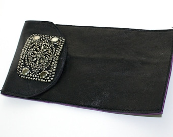 Recycled Black Leather Eyeglass Sunglasses Case