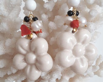 Caltagirone pottery earrings, pearls and coral, silver, Sicilian earrings