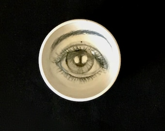 Porcelain White and Black Bowl, Artistic Pottery, Drawing of an Eye on a Handmade Bowl,