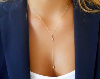 Delicate Gold Y necklace, Lariat Necklace, Layering Necklace, Layered Necklace, Minimal Gold Necklace; Simple Lariat Necklace,