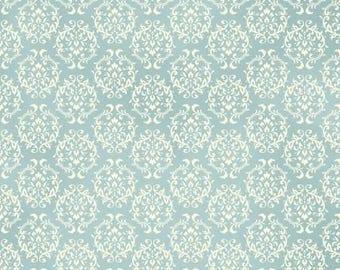 Ruru Bouquet Love Rose Love Cotton Fabric Rose ru2300-17c Damask Pattern White on Aqua