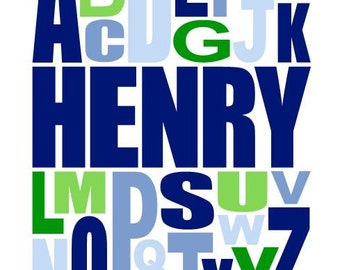 Personalized Alphabet Picture With Name, Green and Blue Childrens Artwork, Navy and Lime Boys Wall Art Baby Boy Nursery Poster 11x14 Print