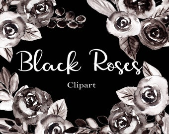 Black and White Roses Clip Art, Watercolor Flower Clipart, Watercolor Clip Art, Floral Clipart, Black Flowers, Rose Clipart, Flower Clip Art