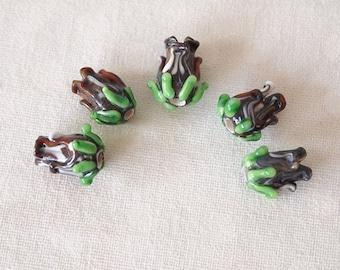 4 Lampwork Tulip Handmade Beads Coffee Brown size 11 x 8mm