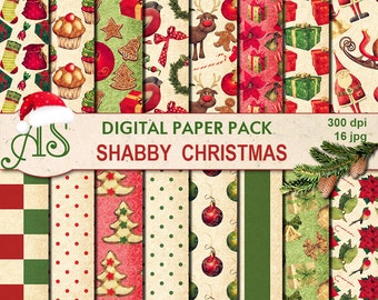 Digital Shabby Chic Christmas Pack, 16 printable Digital Scrapbooking papers, new year Digital Collage, decoupage, Instant Download, set 247