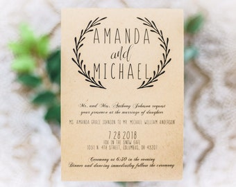 Wedding Invitation Suite, Discount Wedding Invitation, Foliage, Spring Wedding