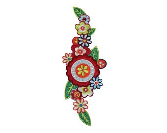 Boho Flower Iron On Applique, Floral Iron On Patch, Flower Applique, Bohemian Patch, Flowers Patch, Kids Patch, Embroidered Patch