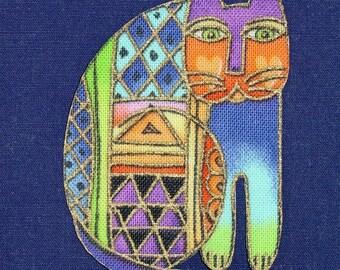 Set of Five Cat Appliques*Handmade*Very Rare Laurel Burch Fabric/S