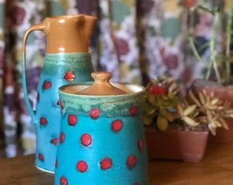Jar Polka Dot Turquoise Yellow Storage Jar Cookie Jar Flour Jar Big Jar