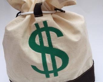 Money Bag - Muslin and felt with Dollar Sign