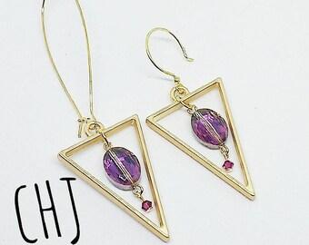 Long gold earrings, purple and gold earrings, Swarovski crystal earrings, crystal earrings, purple crystal earrings, handmade earrings