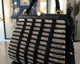 Chic and Sophisticated Vintage 50s Plush Black & Taupe Petite Wool Silk Bronze Snap-Clasp Handbag