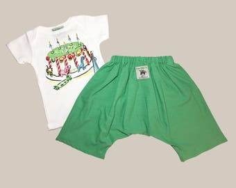 Birthday Set, Retro Baby Set, Caravan Baby Pants, Birthday Outfit, Pant Set, Caravan Pants, Green Baby Pants, Baby Pants, Baby Boy Outfit