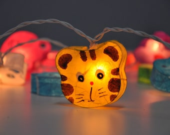 Colourful mulberry paper cute animals face Lanterns for party & decoration (20 bulbs)