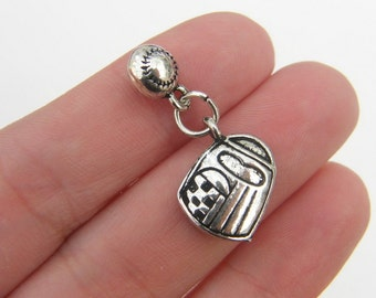 2 Baseball ball and mitt charms antique silver tone SP120