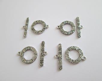 4 fermoir en T toggle cercle tribal en métal argenté 19 x 16 mm