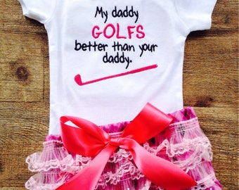 My daddy golfs better onesie and ruffled diaper cover black and pink