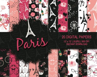 Paris digital paper, Paris background, the Eiffel Tower, flower, bicycle, nail polish, Ferris wheel, wine, bird digital paper, black, pink