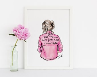 Girls Just Wanna Have Fundamental Human Rights (Fashion Illustration Print) Girl Power Print - Girl Rights - I'm with her - Women's Rights