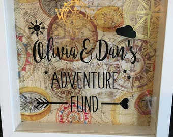 Adventure fund, money box, unique, travelling, compass, drop box, slot frame, personalised gift,  money box frame
