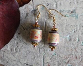 Coral Earrings-Map Earrings-Recycled Paper Earrings