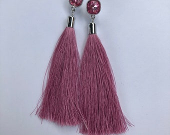 Square Pink Stud Jewel Earring With Pink Silk Tassel