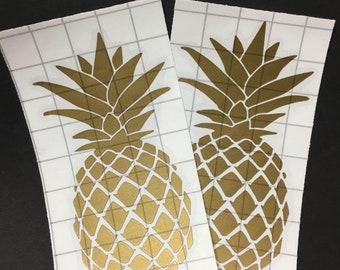Set of 2 Gold Pineapple Vinyl Decals/Stickers