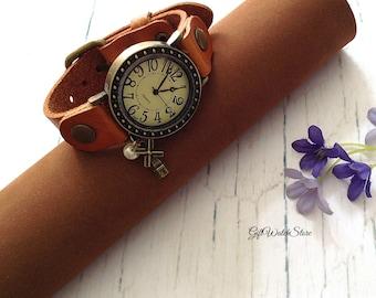 "Retro Leather Watch, Leather Wrap Watch, Leather Bracelet Watch, Wrist Watch, Light Brown Leather Watch, Leather Watch ""windmill"" charm"