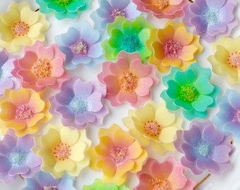 Edible Blossoms Paradise x 300 Multicolour 3D Flowers Wafer Rice Paper Tropical Summer Wedding Cake Decorations Fresh Spring Cupcake Toppers