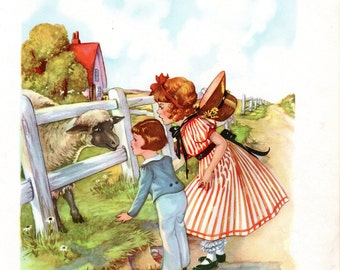 Baa Baa Black Sheep Mother Goose Nursery Rhymes Illustration by Eulalie
