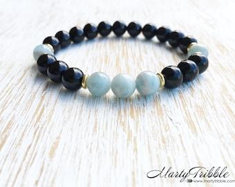 Aquamarine Bracelet, Onyx Bracelet, Boho Bracelet, Blue Bracelet, Aquamarine Beads, Beaded Bracelet, Gemstone Bracelet, Healing Crystal