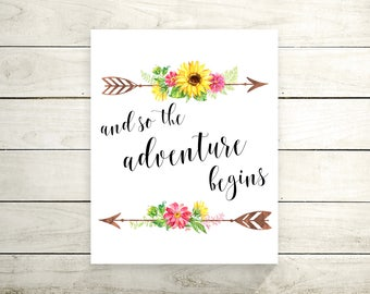 And So the Adventure Begins Canvas Print - Wall Art - Typography Quote - Spring Canvas Art - Motivational Poster - Canvas Quote Print