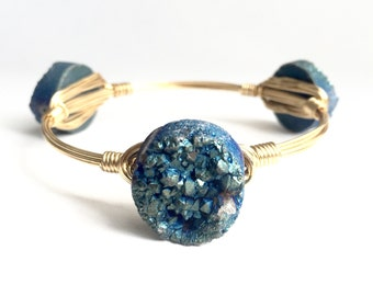 Large Teal Druzy Wire Bangle, Bangle, Bracelet, Bourbon and Boweties Inspired
