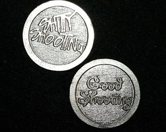 Boondock Saints Good Shooting Shitty Shooting Heads or Tails Pewter Flipping Coin