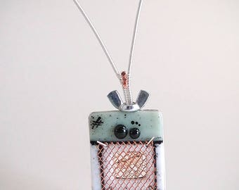 Robot Cat Sculpture Fused Glass Mixed Media Decor Handmade Original Art Sterling Silver Wire Wrapping Steampunk Industrial