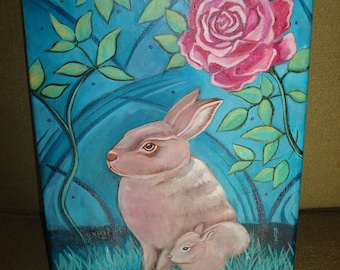Bunny Rabbit w/Rose & baby- Original Painting Folk Art