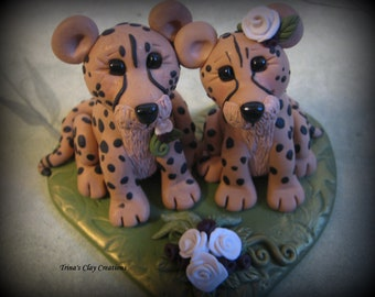 Wedding Cake Topper, Custom Cake Topper, Cheetah, Cheetah Wedding Topper, Personalized, Polymer Clay, Keepsake