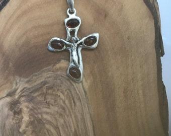 Honey Amber Sterling Silver  Cross Pendant