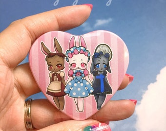 Classic, Sweet, Gothic Lolita Bunnies, Heart Shape Pinback Button, Kawaii Art