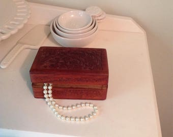 Hand carved vintage wooden box