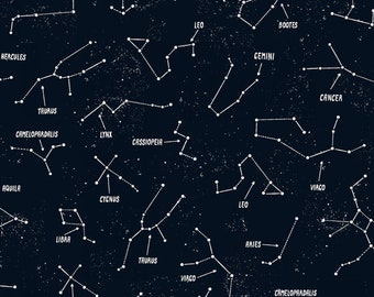 Glow in the Dark Fabric - Constellation in Black - Timeless Treasure - Space Collection - Stars Glow in the Dark - Fabric by the Yard