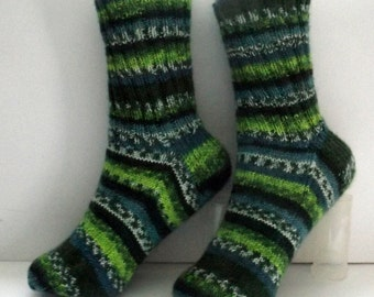 Handknit Socks, Ladies Socks, Self-Striping Yarn, Self-Striping Socks, Womens Socks, Teens Socks, Washable Acrylic Yarn, Wool-Free Yarn #118