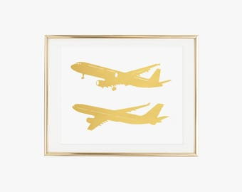 Airplane Gold Foil Print- Real Foil