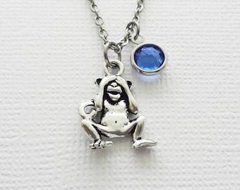 See No Evil Monkey Silver Necklace, Orangutan Necklace, BFF, Best Friend, Birthday Gift, Best Friend, Swarovski Channel Crystal Birthstone