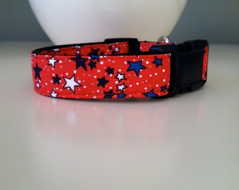 Tiny Dog Collar- Red with Stars