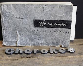 Vintage 1998 Jeep Cherokee Car Emblem and  Owner's Manual // Logo // Chromed Metal // Cherokee Car Tag